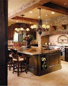 The earthy style of this kitchen would work well in a log cabin home.