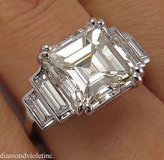 GIA 5.81ct Antique Vintage Art Deco Asscher Diamond Engagement Wedding Platinum Ring #Sparkles