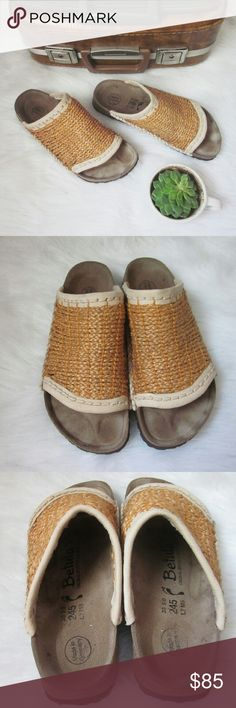 Birkenstock Woven Straw Slides 38 Bohemian No flaws! Only tried on - never worn outside. Outsole and uppers in perfect condition. Size 38 filled in footprint. So fun and unique! Boho Chic slide sandals! Comfort Birkenstock footbeds. Made in Germany  Bundle for best deals! Hundreds of items available for discounted bundles! You can get lots of items for a low price and one shipping fee!  Follow on IG: @the.junk.drawer Birkenstock Shoes Sandals