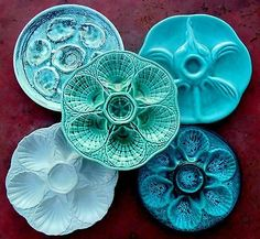 Set of 5 Vintage Aqua Turquoise Jade Green French Majolica Oyster Plates (more to look for at Paris Flea Markets!!)