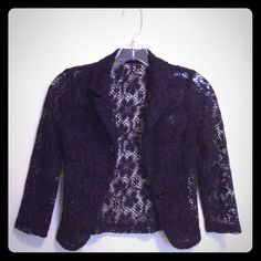 Cropped Black Lace Fitted Blazer
