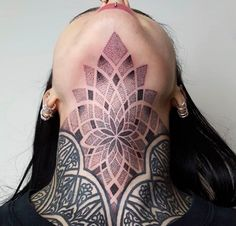 Geometric / dotwork throat tattoo by Chino. You are in the right place about Tattoo Pattern design H Tattoo Girls, Girl Neck Tattoos, Neck Tattoos Women, Back Of Neck Tattoo, Chest Tattoos For Women, Body Art Tattoos, Sleeve Tattoos, Dotwork Tattoo Mandala, Mandala Tattoo Design