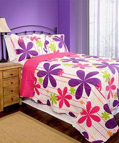 Pink & Purple Pandora Reversible Quilt Set by Pegasus Home Fashions #zulily #zulilyfinds