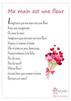 poeme fête des mères Ma main est une fleur Learn French, French Language, Classroom, Education, Learning, Jouer, Parents, Stage, Scrapbooking
