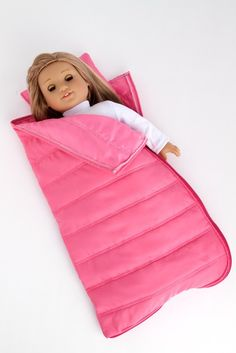 Slumber Party - Pink sleeping bag with a pillow - 18 inch American Girl Doll Accessories