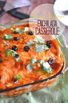 This Cheesy Chicken Enchilada Casserole uses a quick and easy marinade that comes together in a snap, and makes dinnertime a breeze!