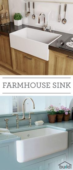 Farmhouse sinks say a lot about style and durability. Also known as apron sinks, these are commonly found in country-style homes and feature a large, deep basin (sometimes double basin), as well as a wide base to hold more pots, pans and whatever else you Kitchen Redo, New Kitchen, Kitchen Country, Kitchen Ideas, Kitchen White, Deep Kitchen Sinks, Faucets For Farmhouse Sinks, Farm Style Kitchen Sinks, Farm Style Sink