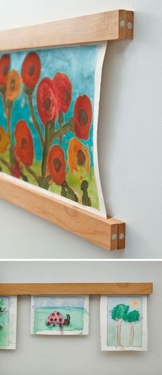 Magnetic frames for displaying art work - Make them by cutting (and painting if you want) wood furring strips and gluing magnets on either side...  Re-Pinned by Child Care Aware of Missouri