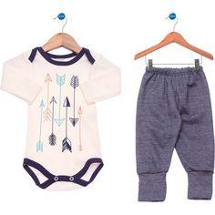 Kit Bodies Bebê Tricae Flechas Off-White e Azul Jeans