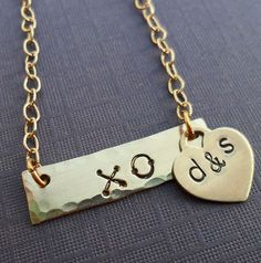Items similar to XO or Love Gold Bar Necklace with Initials and Heart- Hand-Stamped Necklace- Love Weddings Valentines - on Etsy Gold Bar Necklace, Initial Necklace, Heart Hands, Hand Stamped Necklace, Initials, Valentines, Unique Jewelry, Bracelets, Handmade Gifts
