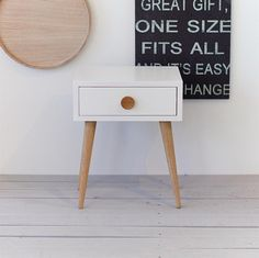 White Oak Nightstand with drawer | White bedside | Mid Century inspired | Scandinavian Style | Bedroom | Side accent table NO-02-EPW