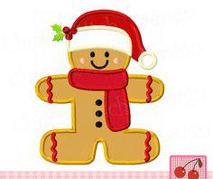 Gingerbread Santa, Gingerbread,Christmas Digital Applique CH0076 -4x4 5x5 6x6 inch-Machine Embroidery Applique Design by CherryStitchDesign on Etsy