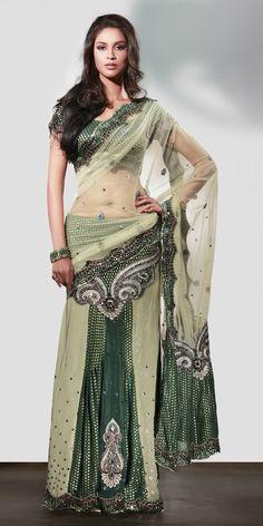 Indian Fashion Trend offers custom made and ready to wear Indian Sarees Indian Fashion Trends, India Fashion, Asian Fashion, Fashion Beauty, Lehenga Style, Lehenga Choli, Green Lehenga, Indian Attire, Indian Wear