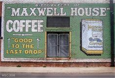 Ghost signs are faded, painted signs, at least 50 years old, on an exterior building wall heralding a product, trademark or a clue to the building's history.: