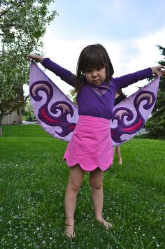 Wrap around skirt with wings! The wings form part of the wrap around skirt or can be unfurled to flap away. Shown for little girls, but I plan to make one for this big girl.