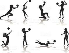 Colección de silueta de voleibol illustracion libre de derechos libre de derechos