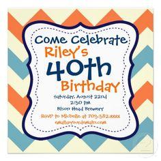 Blue Orange Chevron 40th Birthday Party Invitation