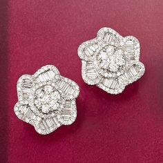 1.40 ct. t.w. Diamond Floral Earrings in 18kt White Gold. Proper little posies sparkle brightly with baguette and round diamonds, individually set to achieve an overall effect of brilliance and dimension. >>Click on the Diamond Studs for more options at Ross-Simons. Gemstone Jewelry, Diamond Jewelry, Gold Jewelry, Jewelry Box, Diamond Earrings, Fine Jewelry, Stud Earrings, Artisan Jewelry, Antique Jewelry