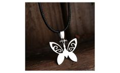 Butterfly Stainless Steel Pendant Leather Chain Necklace
