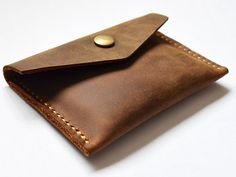 Slim Leather Card Wallet  Thin Leather Card Case  by HeyFish