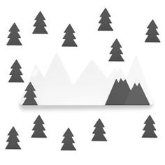 Shelf & Wall Stickers . Mountains & Trees / Black