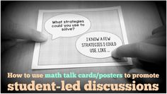 Lots of ideas on how to use math cards and posters to get kids to discuss math with each other