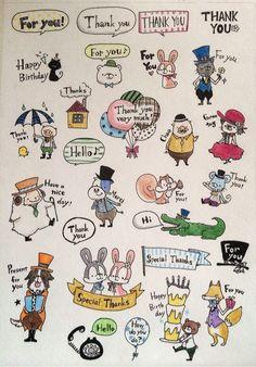 メッセージどうぶつ フレークシール Birthday Thanks, It's Your Birthday, Japanese Illustration, Cute Illustration, Cute Doodles, Food Drawing, Gel Pens, Easy Drawings, Zine