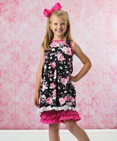 Another great find on #zulily! Pink & Black Floral Dress & Ruffle Leggings - Toddler & Girls #zulilyfinds