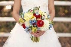 A pop of red in the bouquet..so pretty!