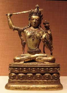 Manjushri (Bodhisattva & Buddhist Deity) - Arapachana - The Capital Museum, Beijing, China - Mongolia Buddha Buddhism, Tibetan Buddhism, Buddhist Art, Vajrayana Buddhism, Tibetan Art, Museum Collection, Deities, Asian Art, Bronze