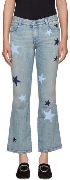 Stella Mccartney for Women Collection Denim Jeans, Skinny Jeans, Kick Flare Jeans, Star Patterns, Stretch Jeans, Stella Mccartney, Bell Bottom Jeans, Stars, Pants