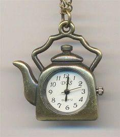 Tea pot watch long chain necklace .. Pocket Watch Necklaces ..