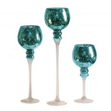 3-Piece Mercury Glass Stem Vase, Turquoise~LOVE LOVE LOVE THESE...ESPECIALLY THE COLOR!!! <3