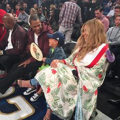 Blue Ivy, Dad Jay Z and Mom Beyonce at 2017 All Star Game in New Orleans