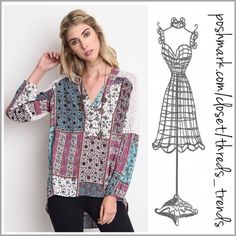 New! Mint Berry Hi/Low Top Adorable patchwork print hi/low top in mint and berry colors with lace across the back shoulder and a V neck collar. Size S, M, L great transition piece for all seasons. Made of cotton/rayon Threads & Trends Tops