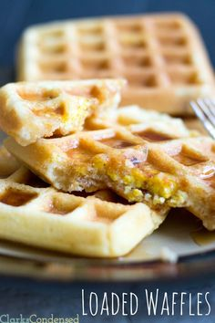 Loaded Waffles- stuffed with scrambled eggs, bacon, and cheese