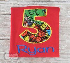 Superhero Themed Handmade Embroidered Birthday Shirt