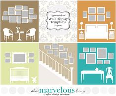 Photo Wall Display Templates  Uppercross by WhatMarvelousThings, $19.00 Picture Arrangements, Adobe Photoshop Elements, Hanging Pictures, Photo Displays, Picture Wall, Poster Prints, Wall Decor, Templates, Display Wall