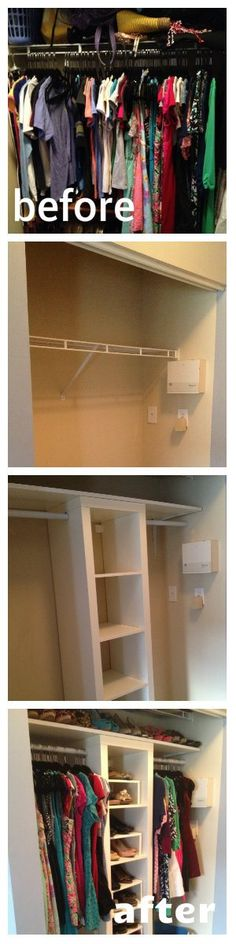 A Dream Closet Makeover! IKEA closet hack makeover<br> I have a lot of clothes. Skirts, blouses, dresses, shorts- I've just accumulated a lot over the past few years. As I've said before, one of the greatest things about my condo is the ample storage r… Ikea Closet Hack, Closet Hacks, Closet Storage, Closet Organization, Closet Ideas, Wardrobe Storage, Storage Organization, Master Closet, Closet Bedroom