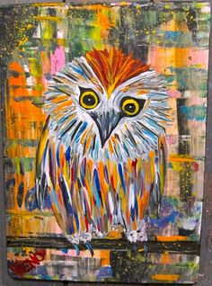 COLORFUL OWL~bird painting Maine FOLK ART outsider~COASTWALKER