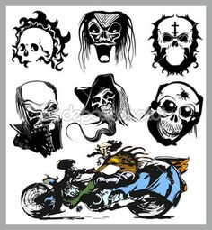 Vector skull moto tattoo collection, race silhouette set