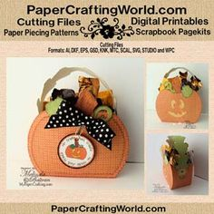 Pumpkin Box SVG Cut File Set From PCW. http://www.papercraftingworld.com/item_1471/Pumpkin-Box-CF-3D.htm
