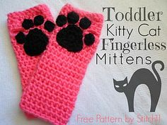 Kitty Cat Fingerless Gloves by Corina Gray  Published in Stitch11