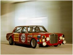 """Suspension and tires. too many lights.  280 SEL AMG """"Red Pig"""""""
