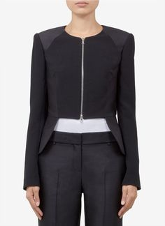 Cut-away Contrast Zip Jacket - Prabal Gurung