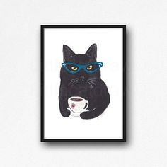 Black Cat Drinking Tea, an original illustration by Littlecatdraw. This is an archival art print, printed on archival matte paper with vibrant pigment inks. 3 sizes are available. Please select size at top of the listing. Sizes: 5x7 inches, 8x10 inches or A4 8.2x11.7 inches. PRINT ONLY