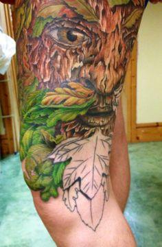 Session 15, 10/10/14, Greenman tattoo, start of moustache & beard by Craig Smith at Skin Graphics, Lowestoft, UK