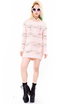 1990's Grungetastic Open-Knit Sweater Dress - XS/S