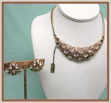 On Sale!!  Trifari Rhinestone Bib Demi Parure Necklace and Earrings with Foil Tag
