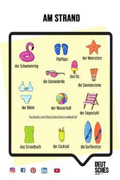 Deutsch Wortschatz Grammatik German DAF Alemán Vocabulario Sommer verano Teaching French, Teaching Spanish, Spanish Activities, German Grammar, German Words, Learn German, Learn French, French Lessons, Spanish Lessons